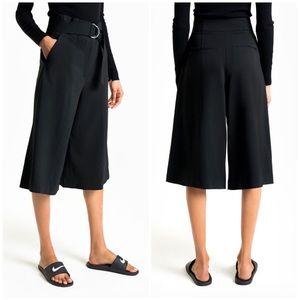ALC | Black Jayden Wide Leg Cropped Crepe Culottes
